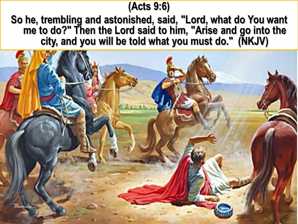 (Acts 9:6) So he, trembling and astonished, said, Lord, what do You want me to do Then the Lord said to him, Arise and go into the city, and you will be told what you must do. (NKJV)