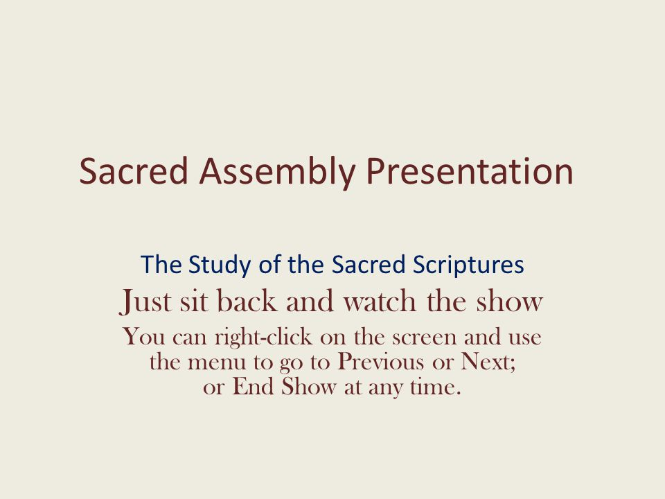 Sacred Assembly Presentation