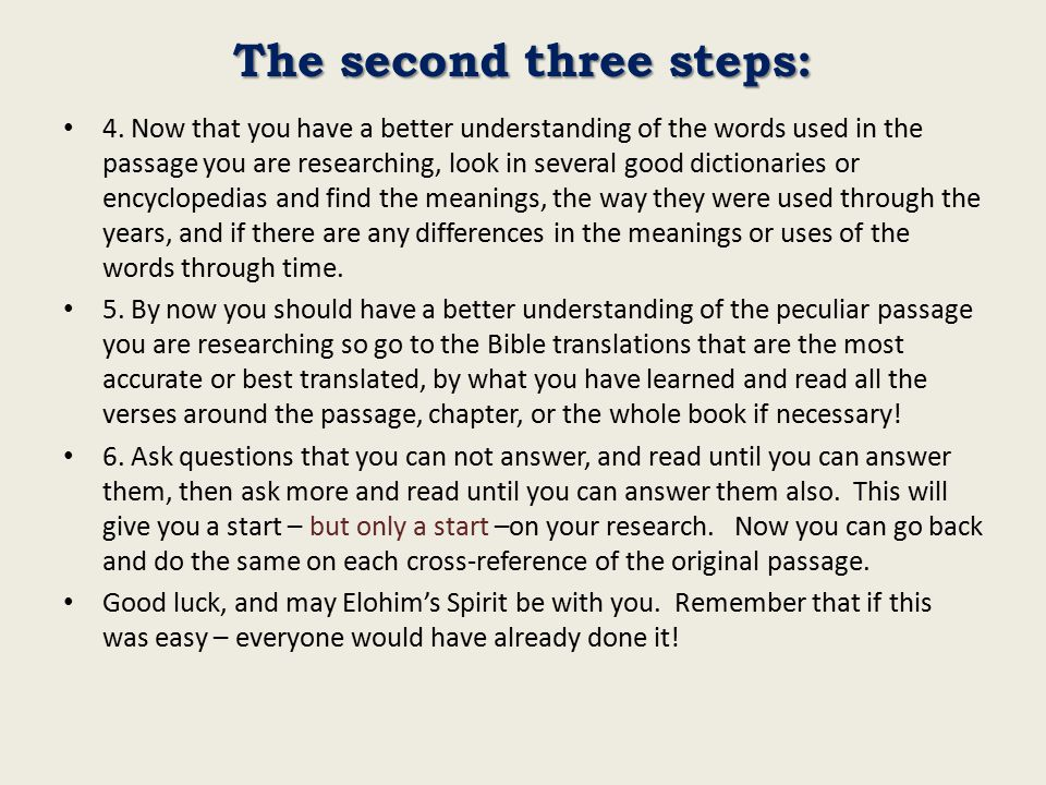 The second three steps: