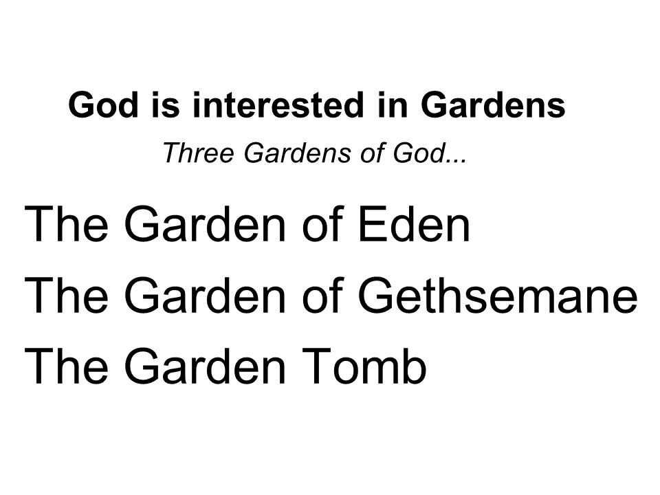 God is interested in Gardens