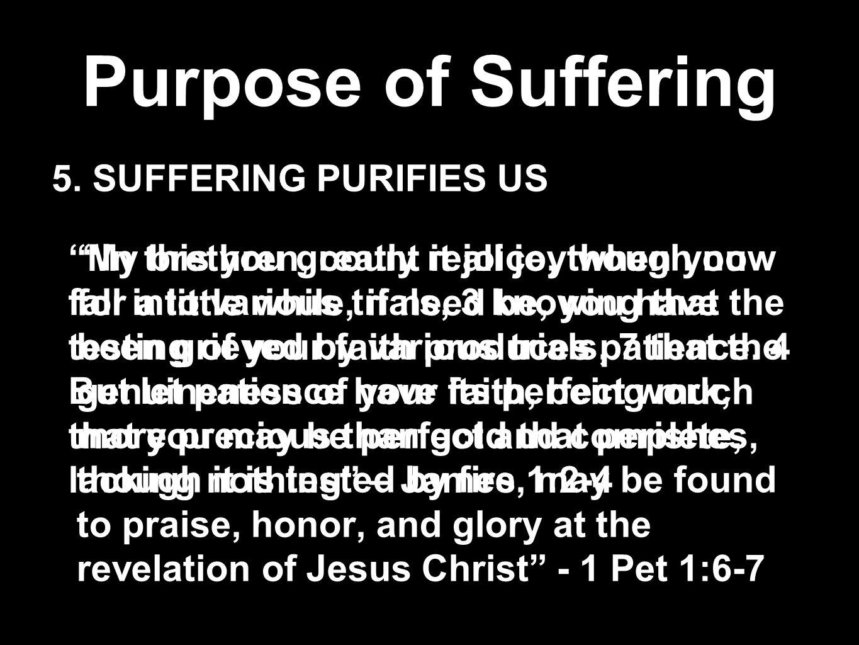 Purpose of Suffering 5. SUFFERING PURIFIES US