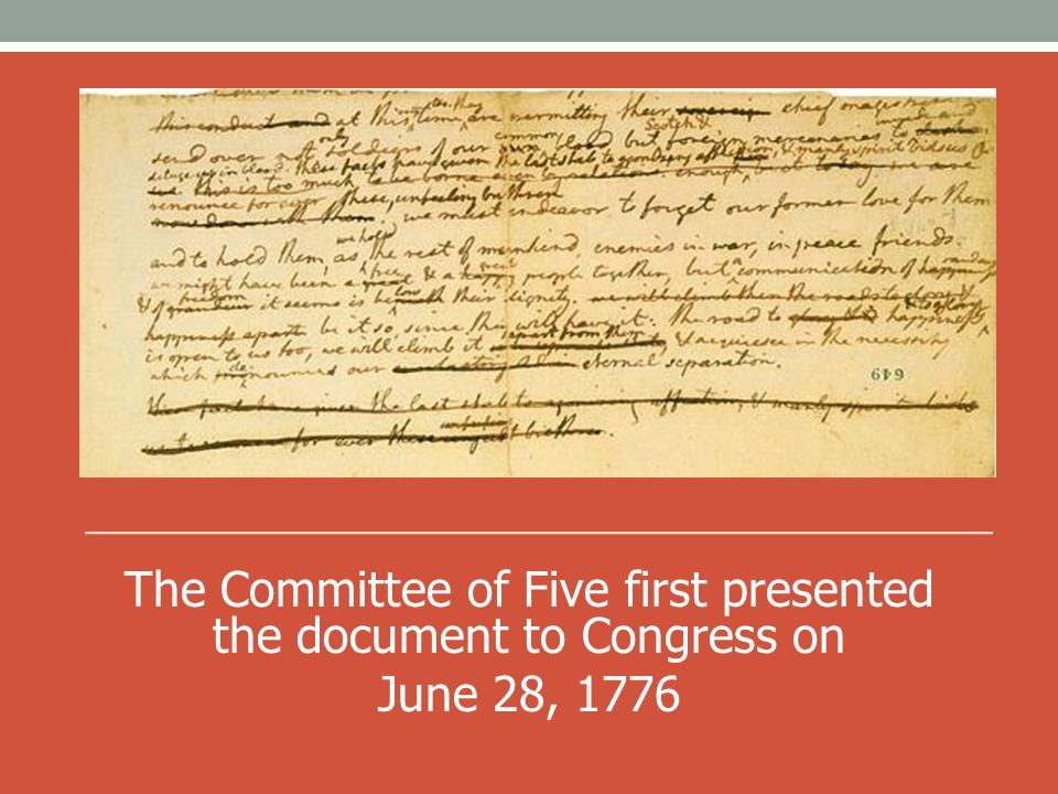 The Committee of Five first presented the document to Congress on
