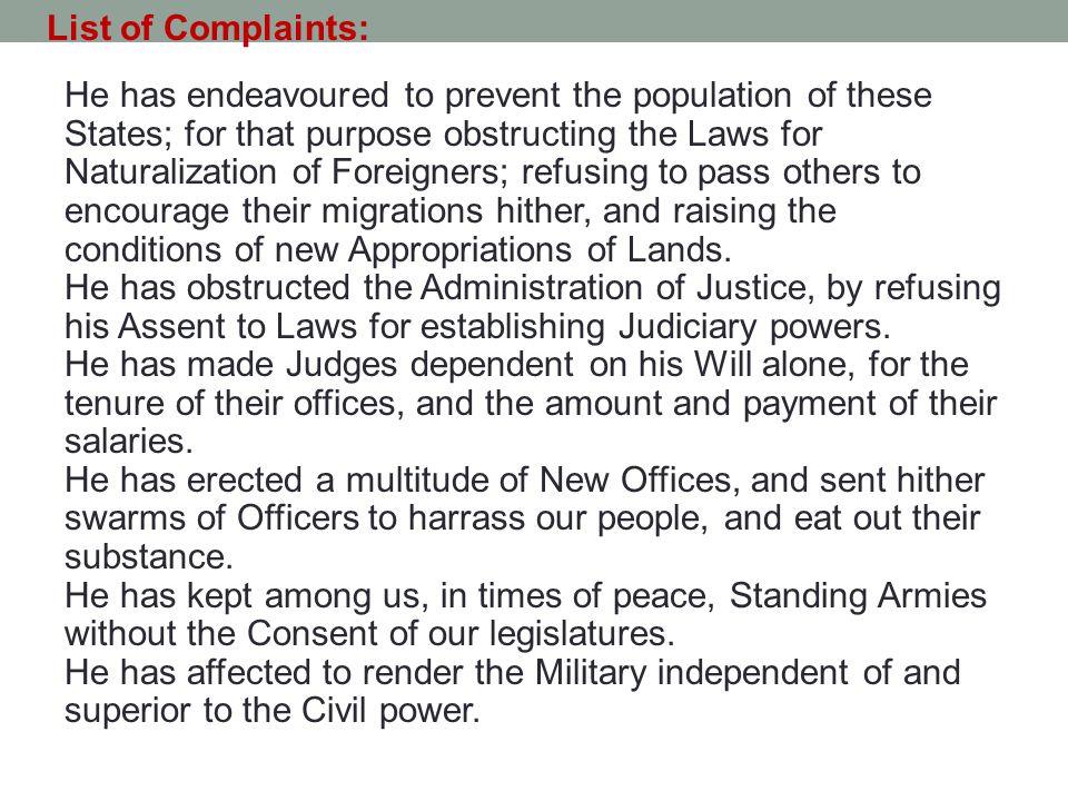 List of Complaints: