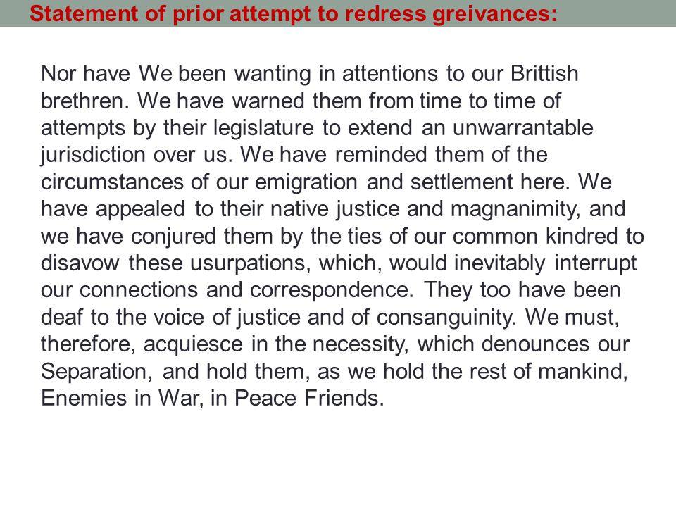 Statement of prior attempt to redress greivances: