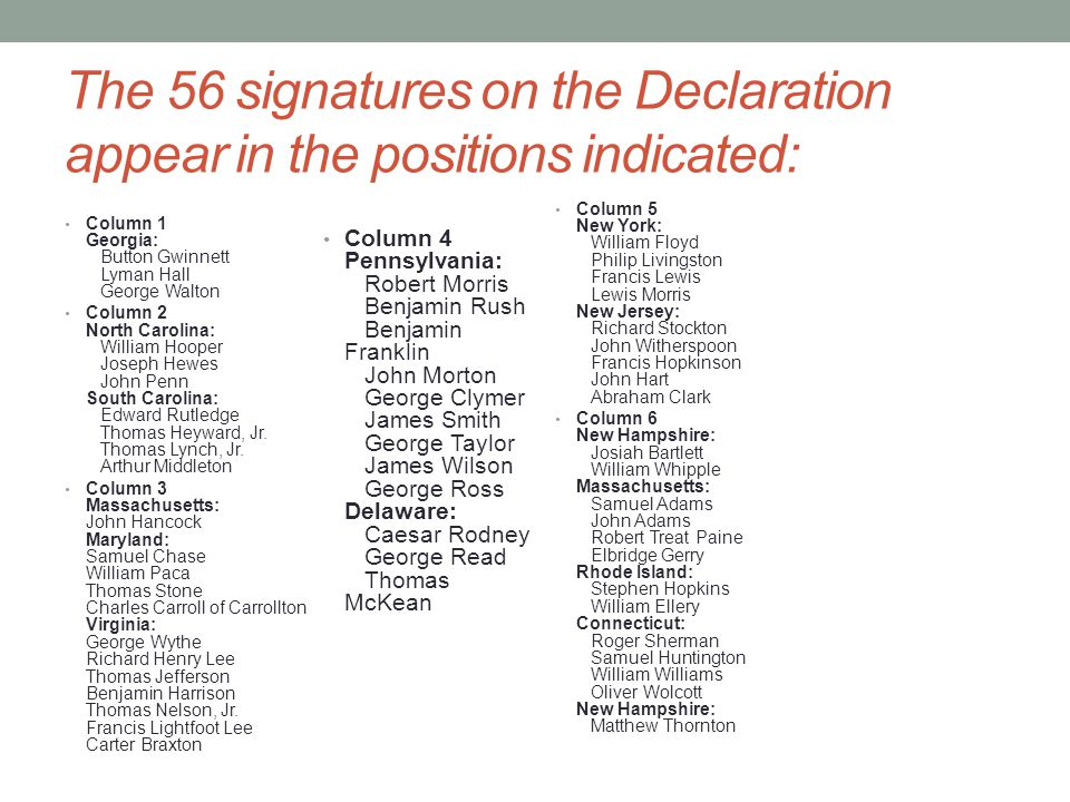 The 56 signatures on the Declaration appear in the positions indicated: