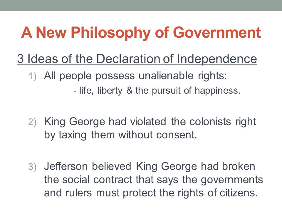 A New Philosophy of Government