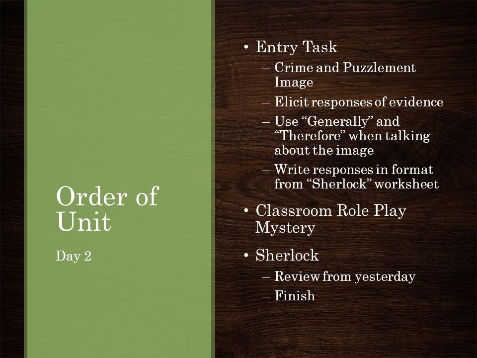 Order of Unit Entry Task Classroom Role Play Mystery Sherlock
