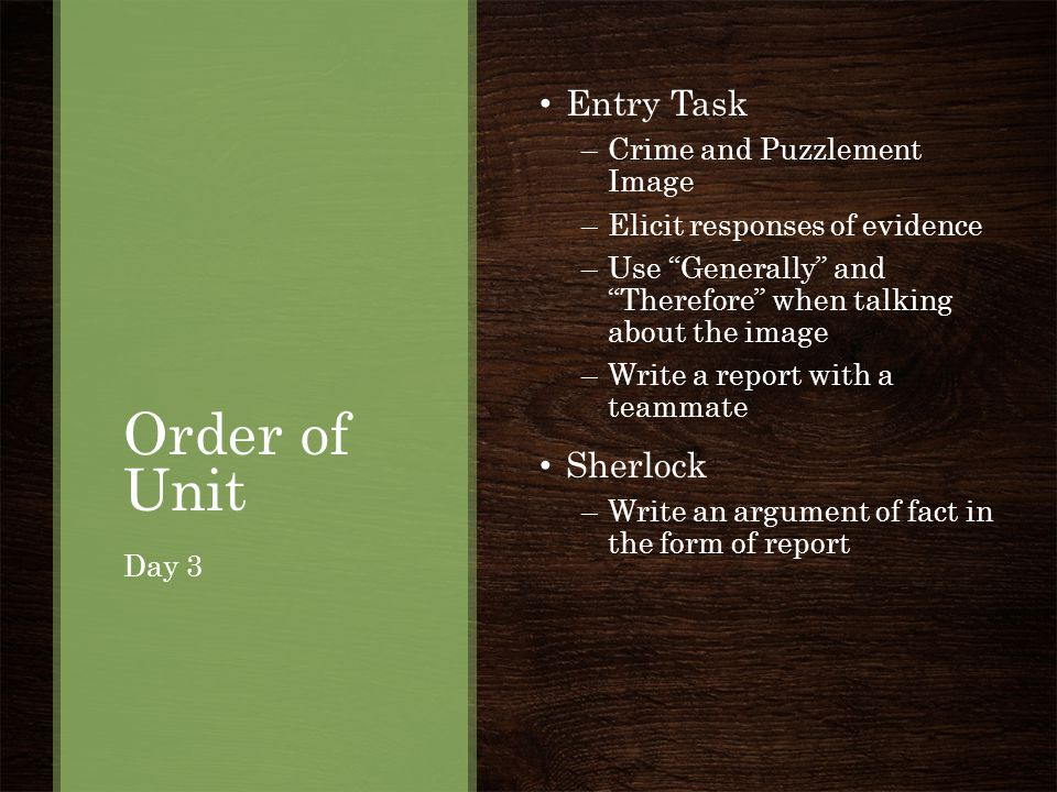 Order of Unit Entry Task Sherlock Crime and Puzzlement Image