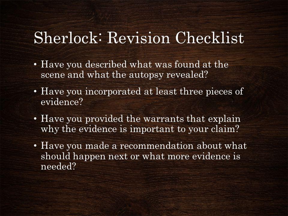 Sherlock: Revision Checklist