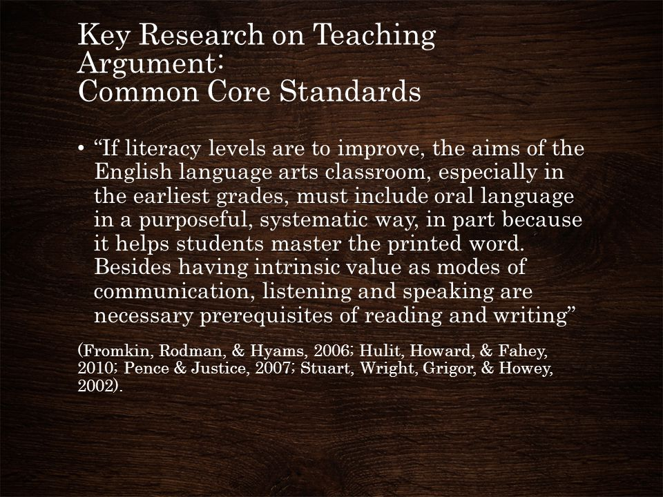 Key Research on Teaching Argument: Common Core Standards