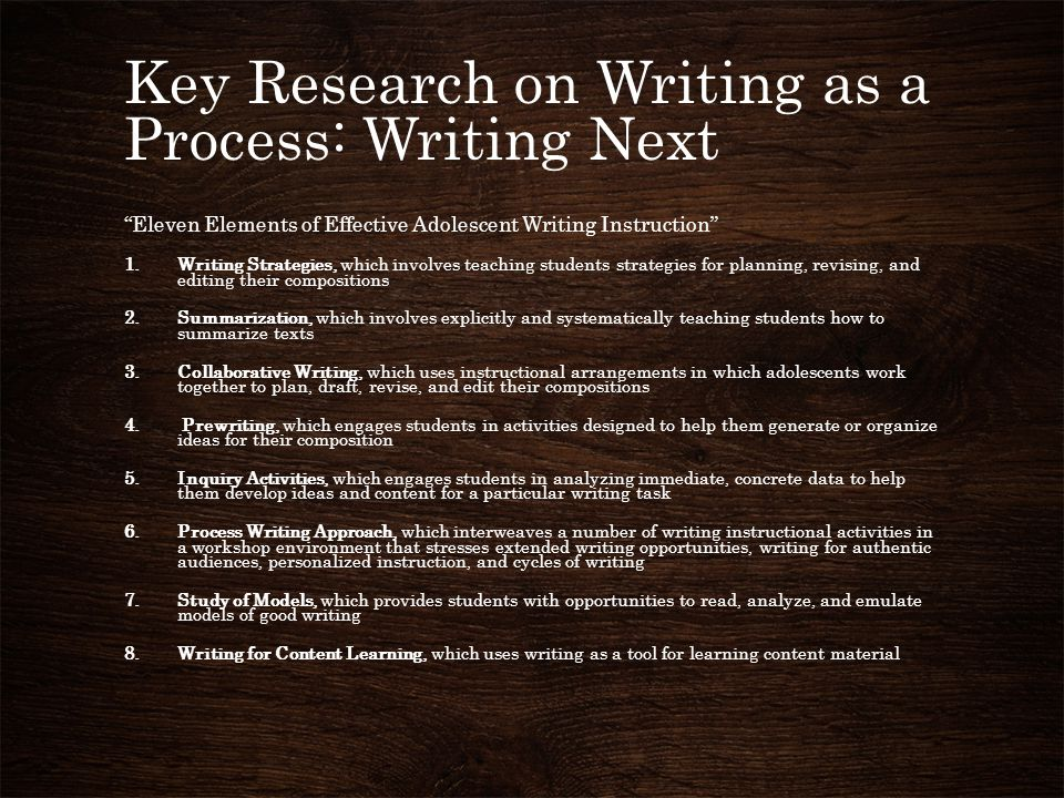 Key Research on Writing as a Process: Writing Next