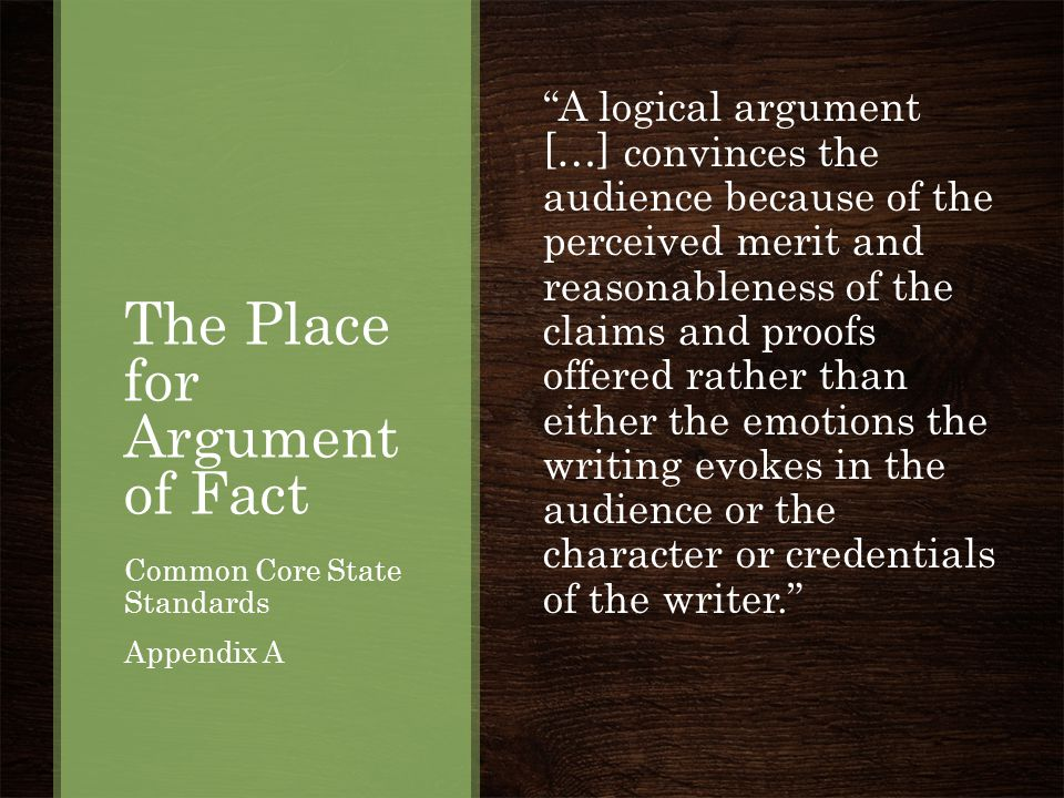 The Place for Argument of Fact