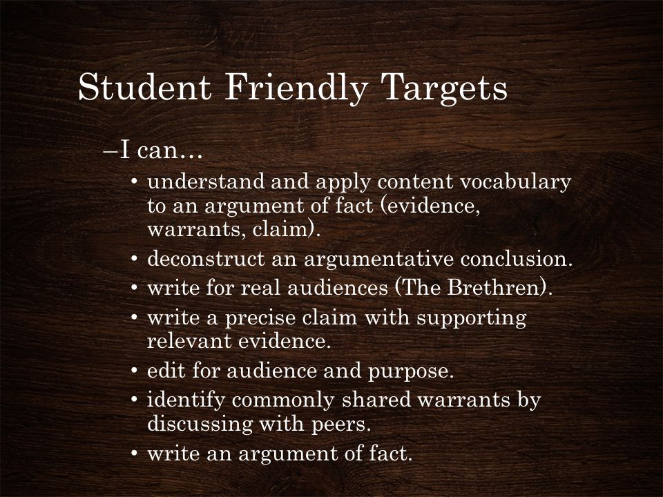 Student Friendly Targets