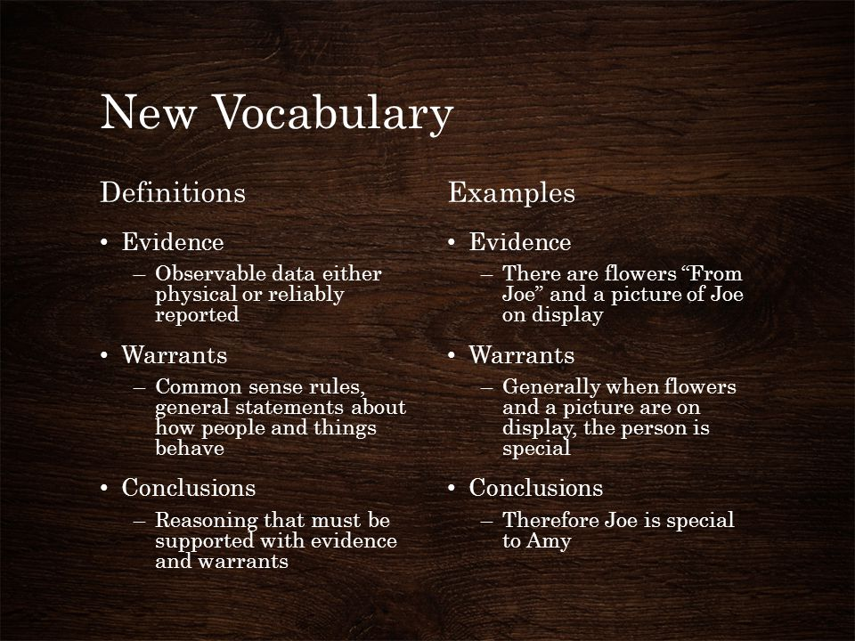 New Vocabulary Definitions Examples Evidence Warrants Conclusions