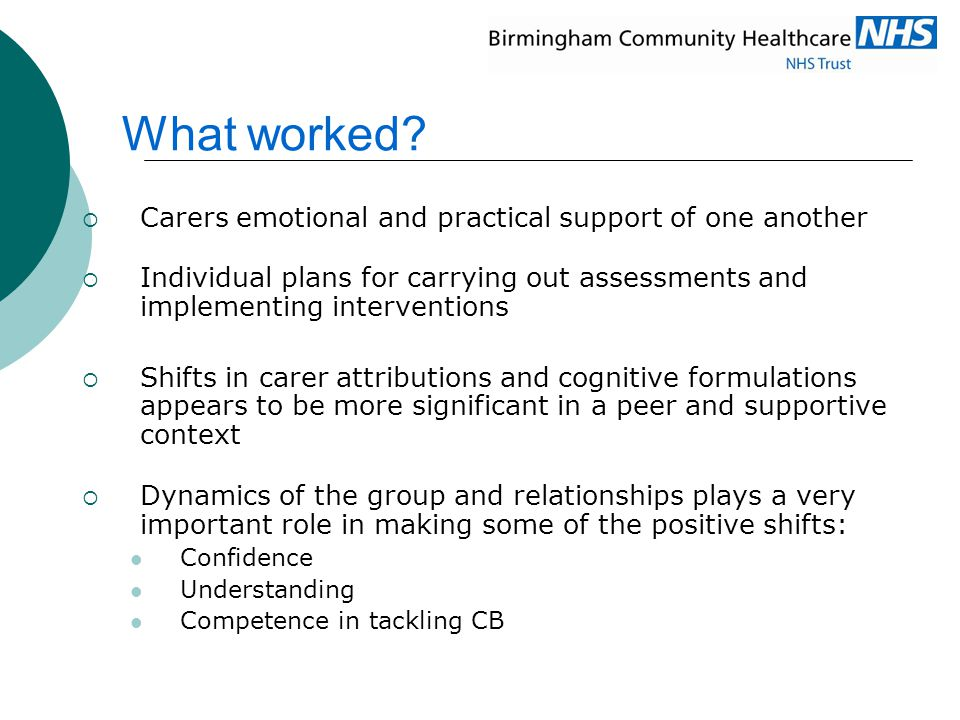 What worked Carers emotional and practical support of one another