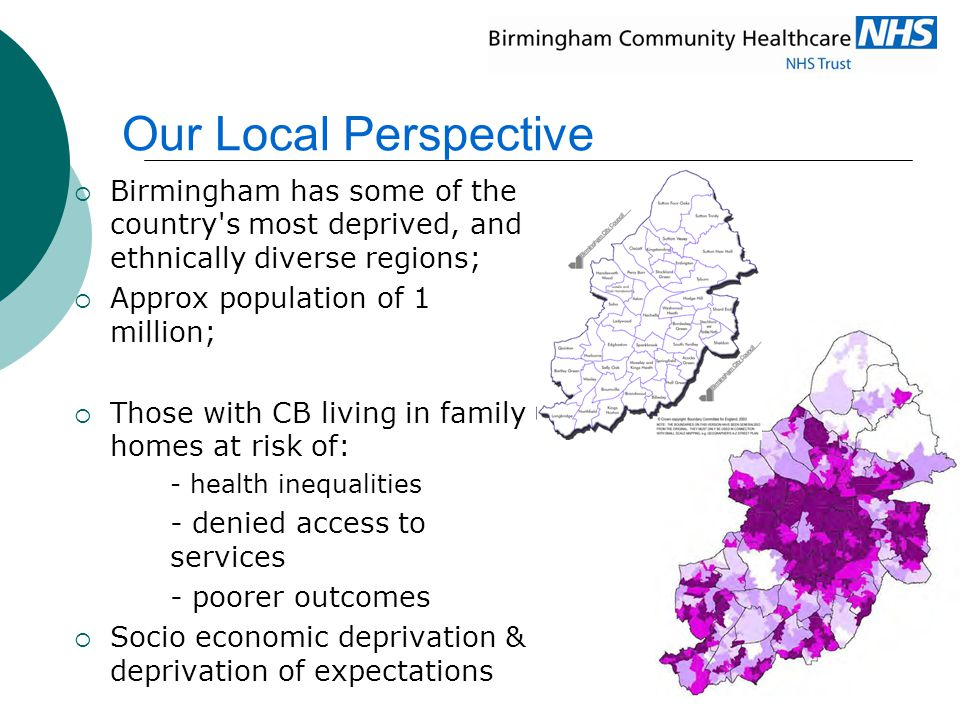 Our Local Perspective Birmingham has some of the country s most deprived, and ethnically diverse regions;