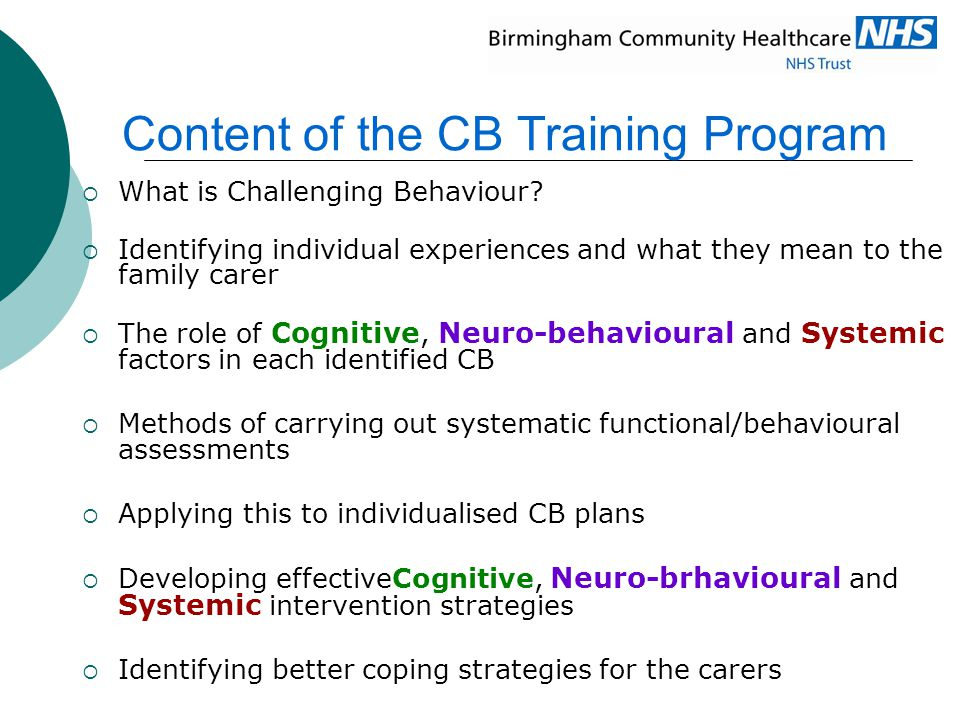 Content of the CB Training Program