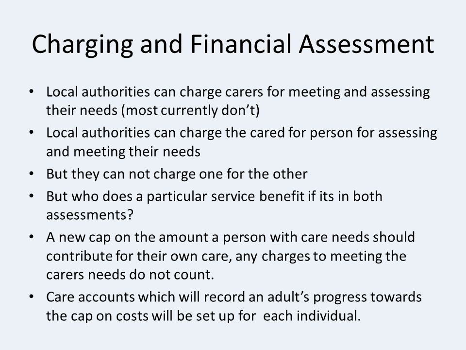 Charging and Financial Assessment