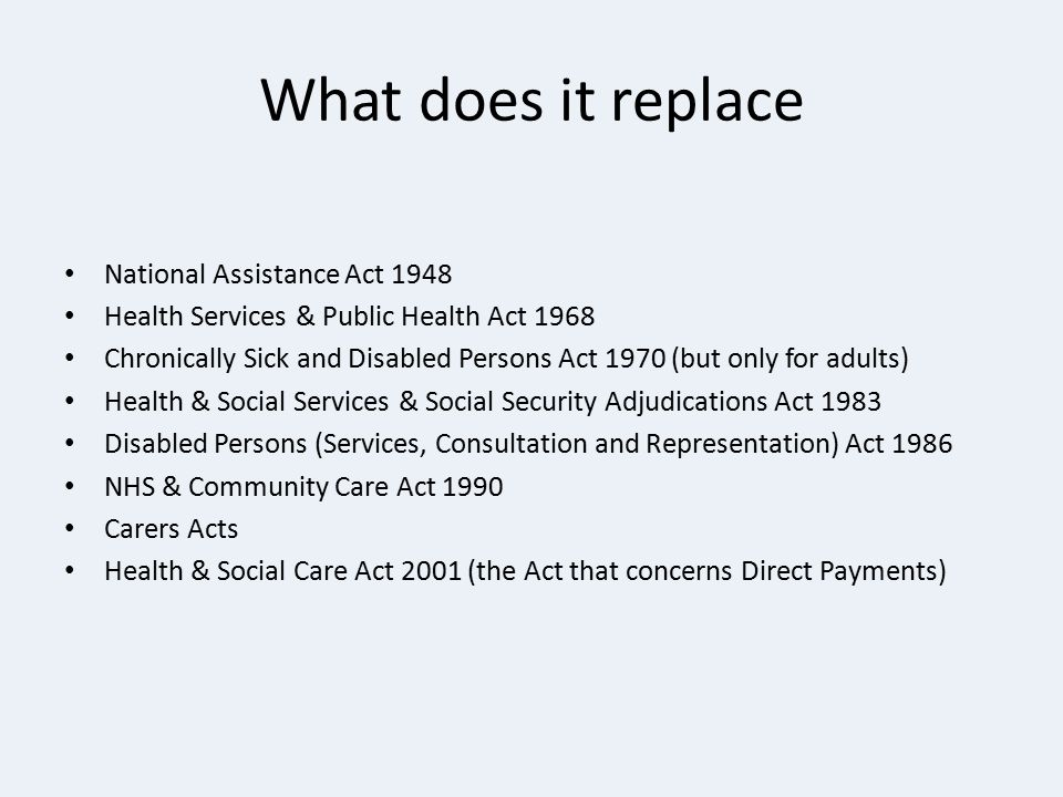What does it replace National Assistance Act 1948