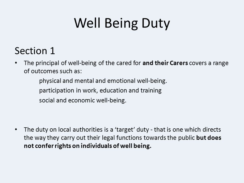 Well Being Duty Section 1