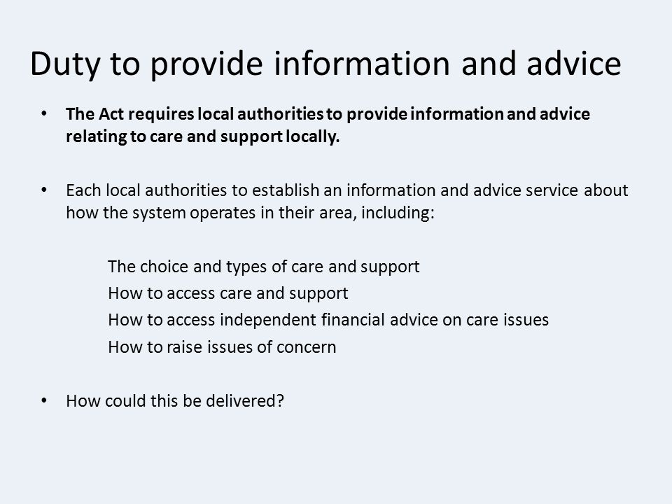 Duty to provide information and advice