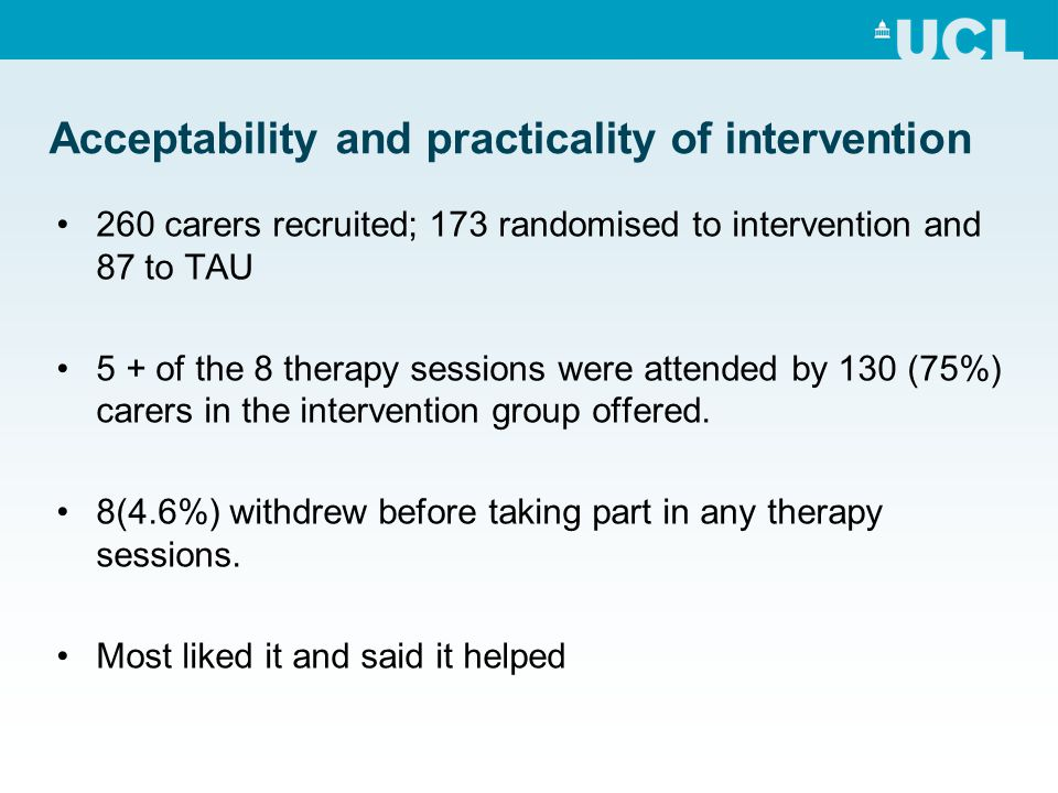 Acceptability and practicality of intervention