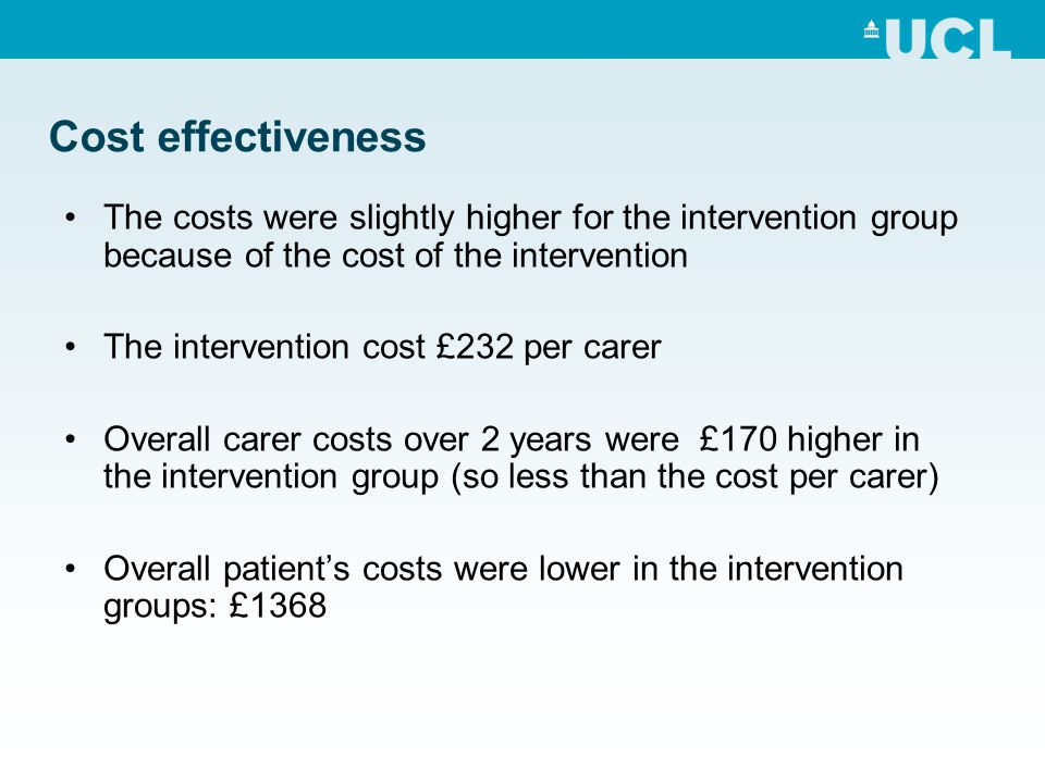 Cost effectiveness The costs were slightly higher for the intervention group because of the cost of the intervention.