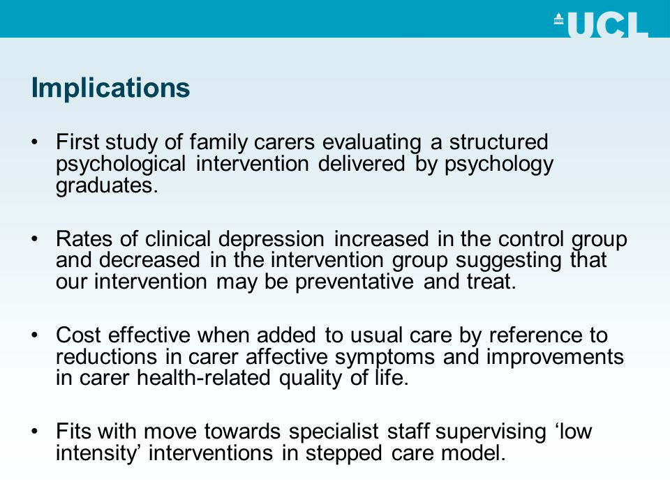 Implications First study of family carers evaluating a structured psychological intervention delivered by psychology graduates.