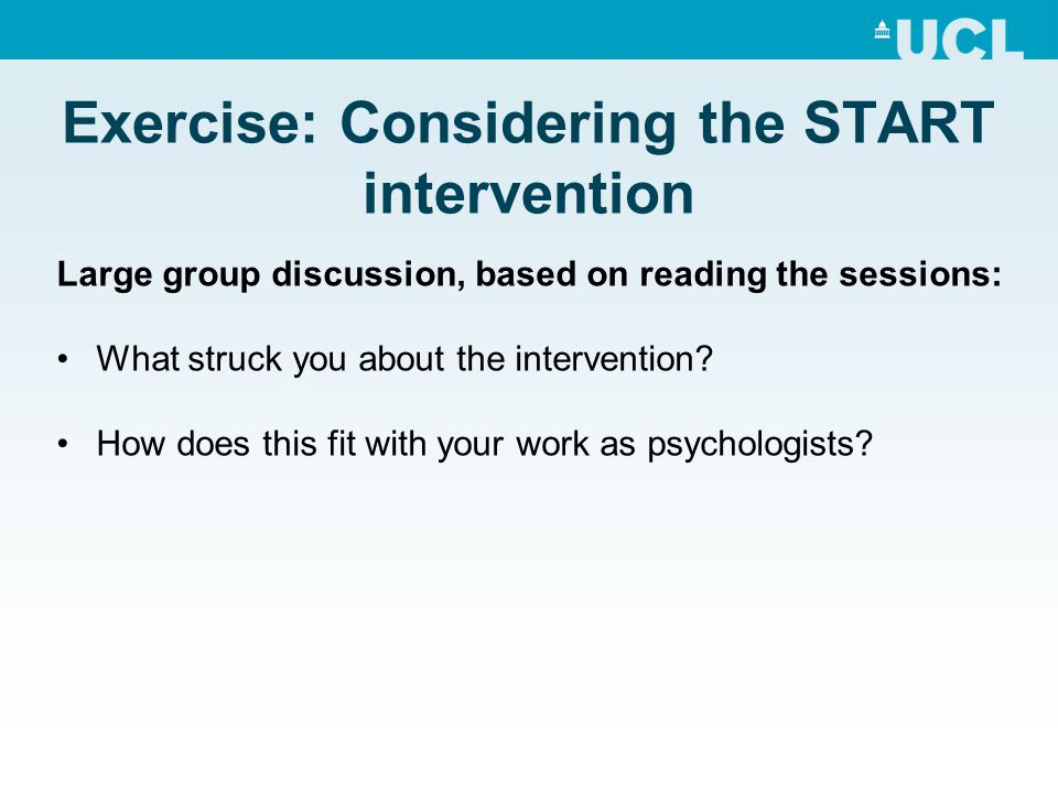 Exercise: Considering the START intervention