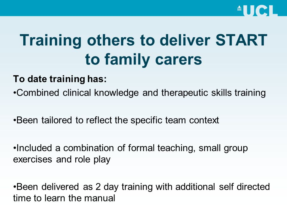 Training others to deliver START to family carers