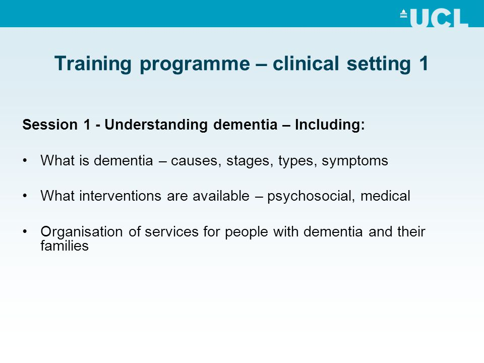 Training programme – clinical setting 1