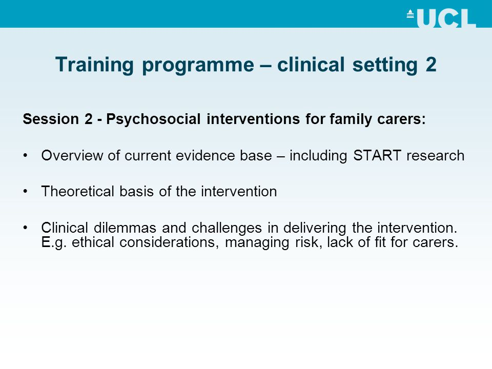 Training programme – clinical setting 2