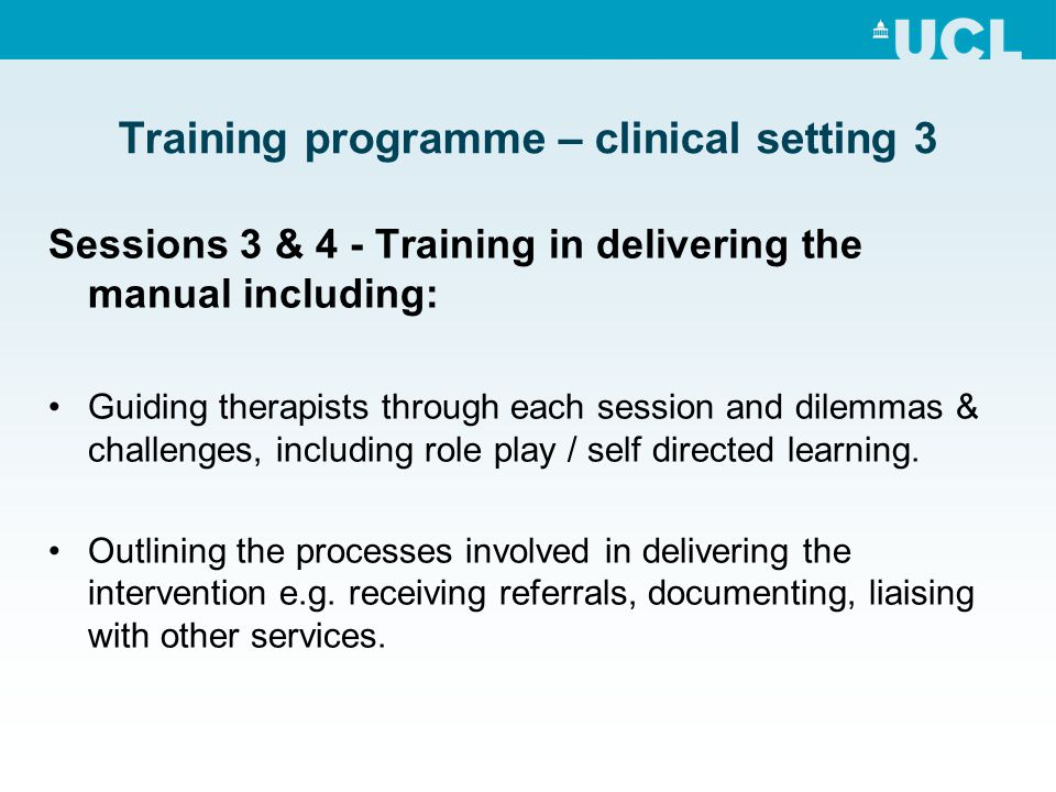 Training programme – clinical setting 3