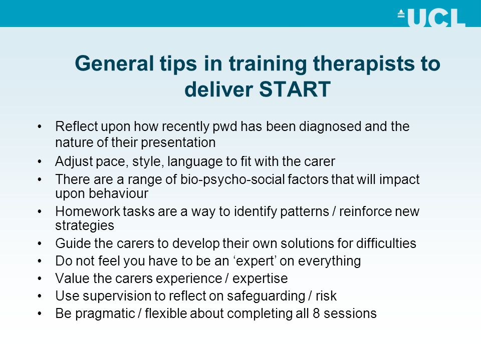 General tips in training therapists to deliver START