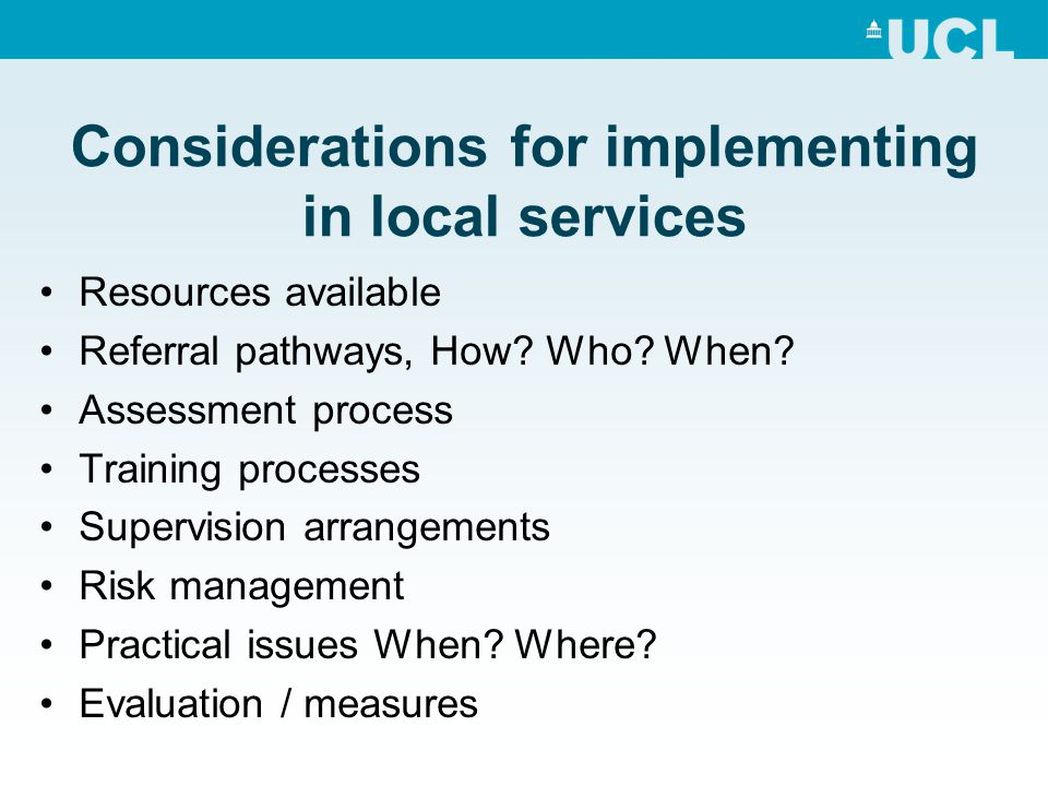 Considerations for implementing in local services