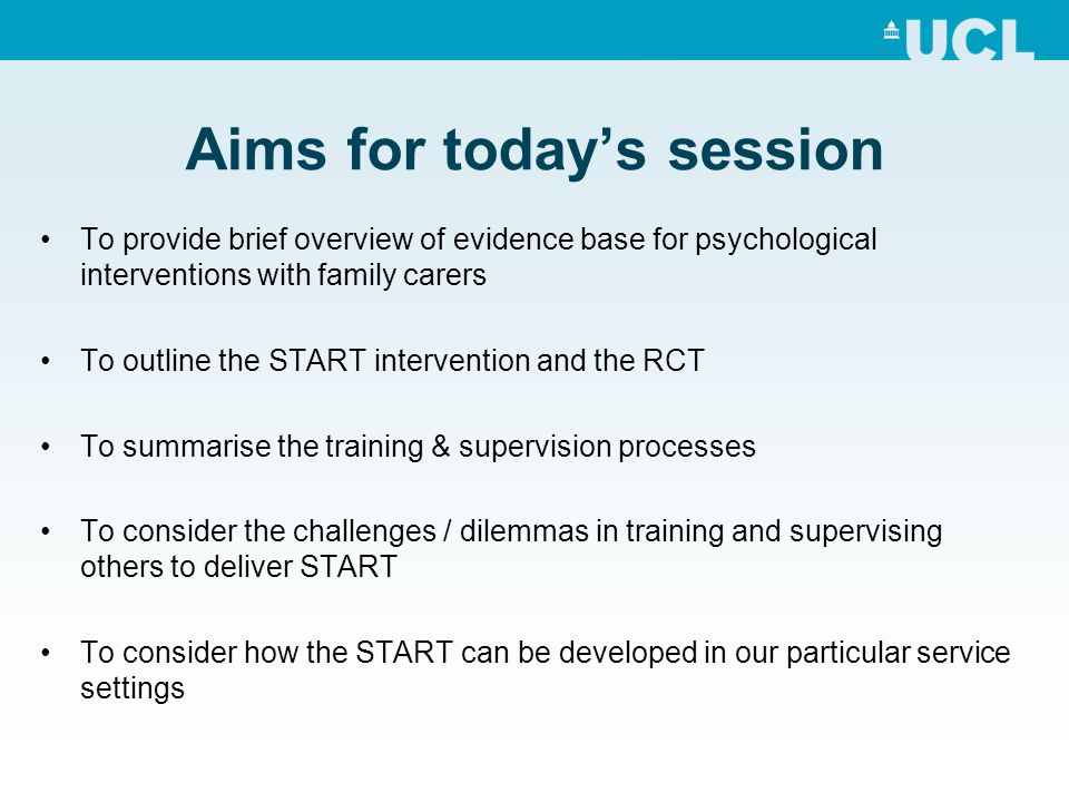 Aims for today's session
