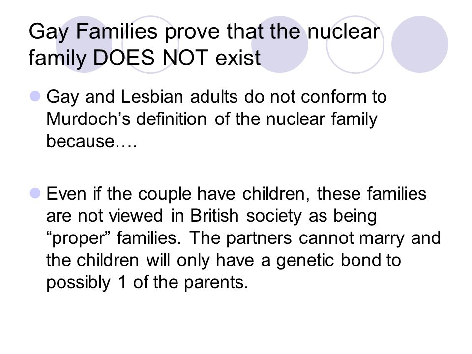 Gay Families prove that the nuclear family DOES NOT exist