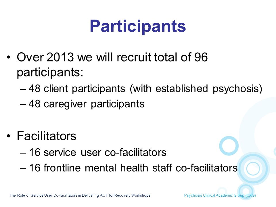 Participants Over 2013 we will recruit total of 96 participants: