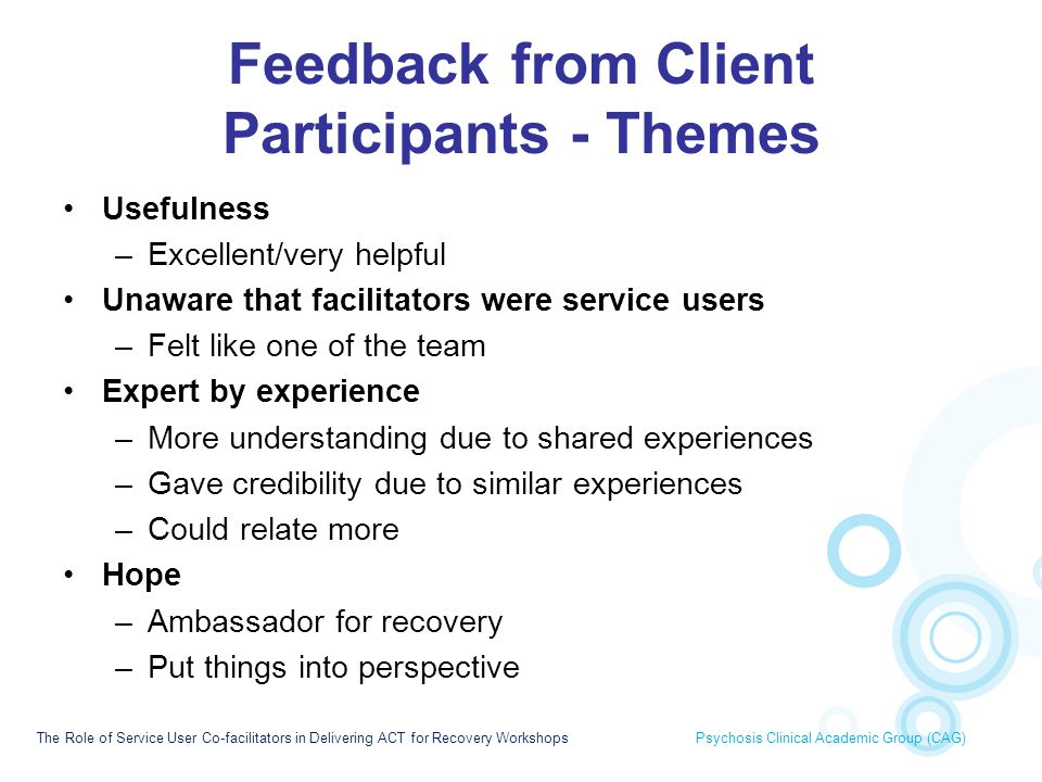 Feedback from Client Participants - Themes