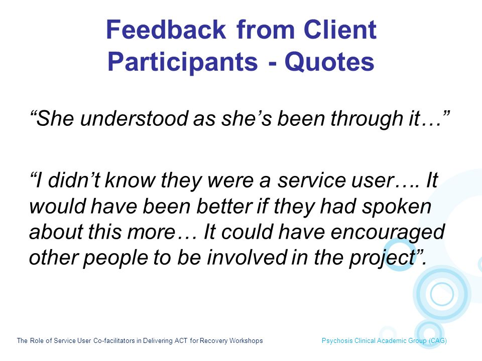 Feedback from Client Participants - Quotes
