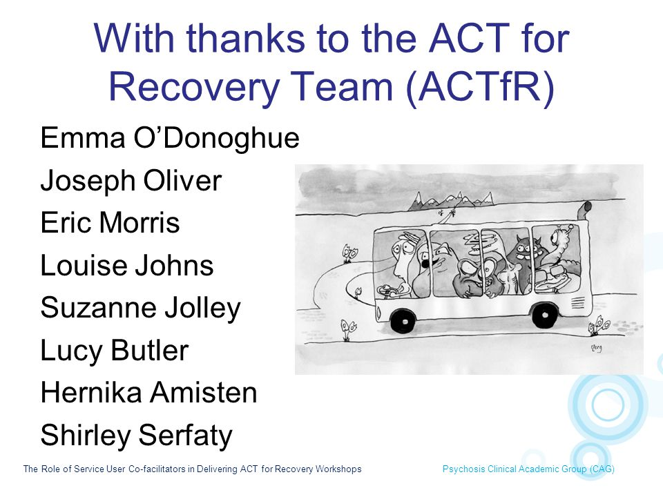 With thanks to the ACT for Recovery Team (ACTfR)