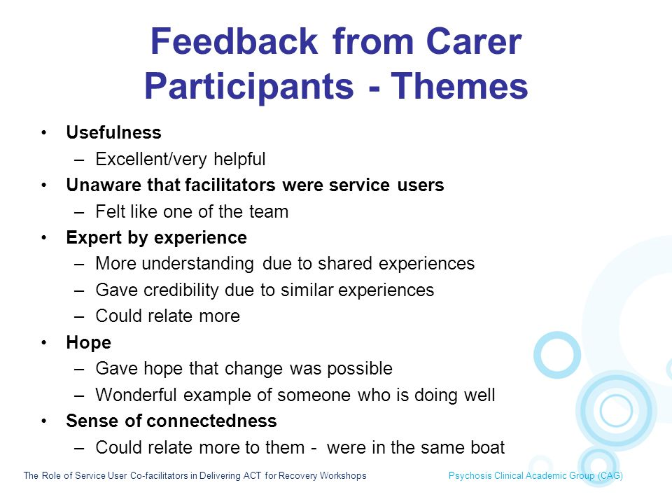 Feedback from Carer Participants - Themes