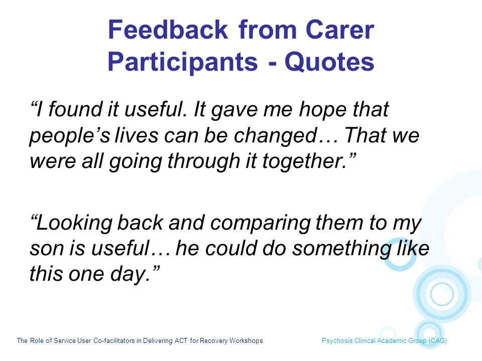 Feedback from Carer Participants - Quotes