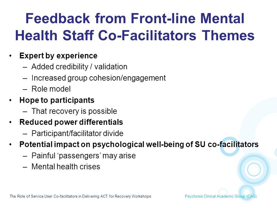Feedback from Front-line Mental Health Staff Co-Facilitators Themes