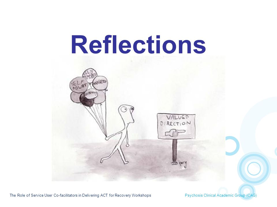 Reflections Finally we are going to discuss practical issues and reflections of involving Service User co-facilitators in ACT workshops.