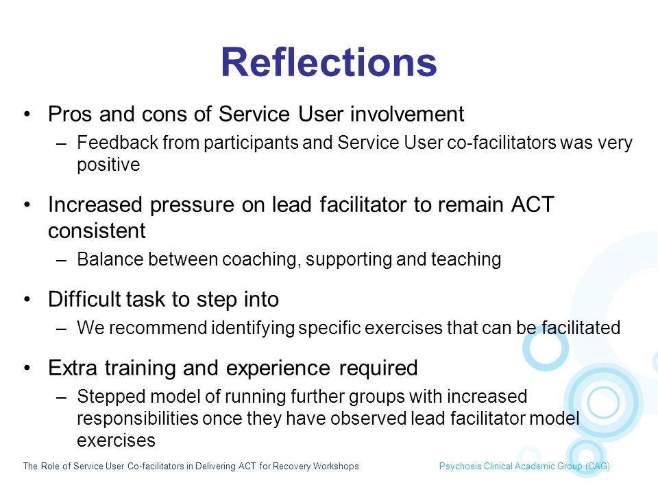 Reflections Pros and cons of Service User involvement