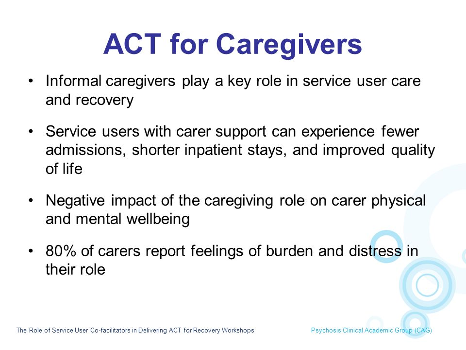 ACT for Caregivers Informal caregivers play a key role in service user care and recovery.