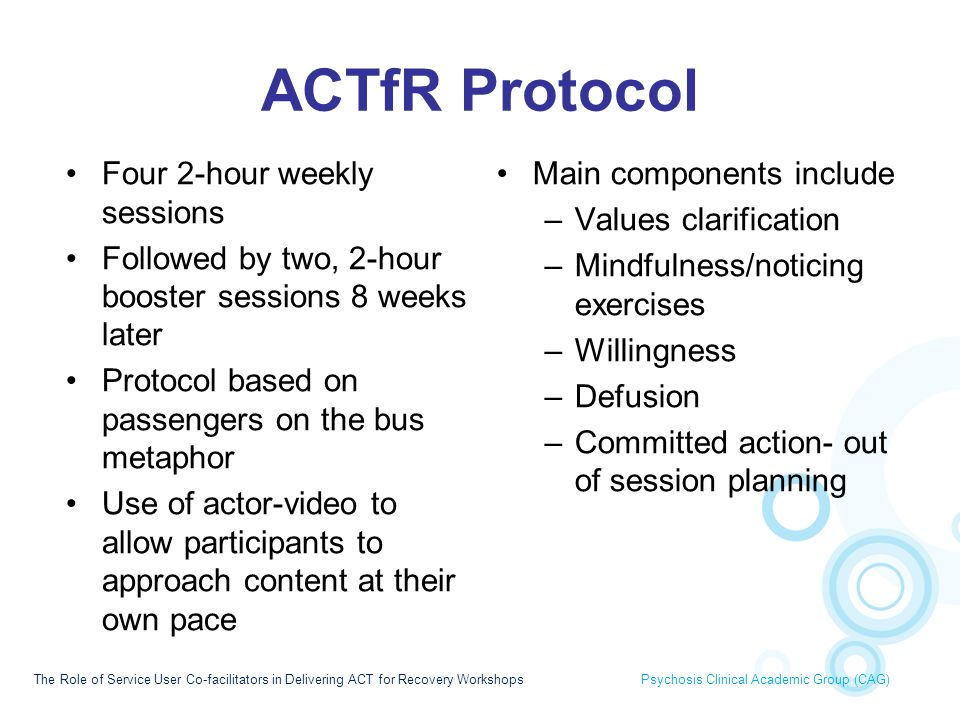 ACTfR Protocol Four 2-hour weekly sessions