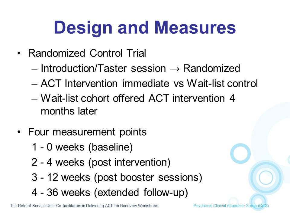 Design and Measures Randomized Control Trial