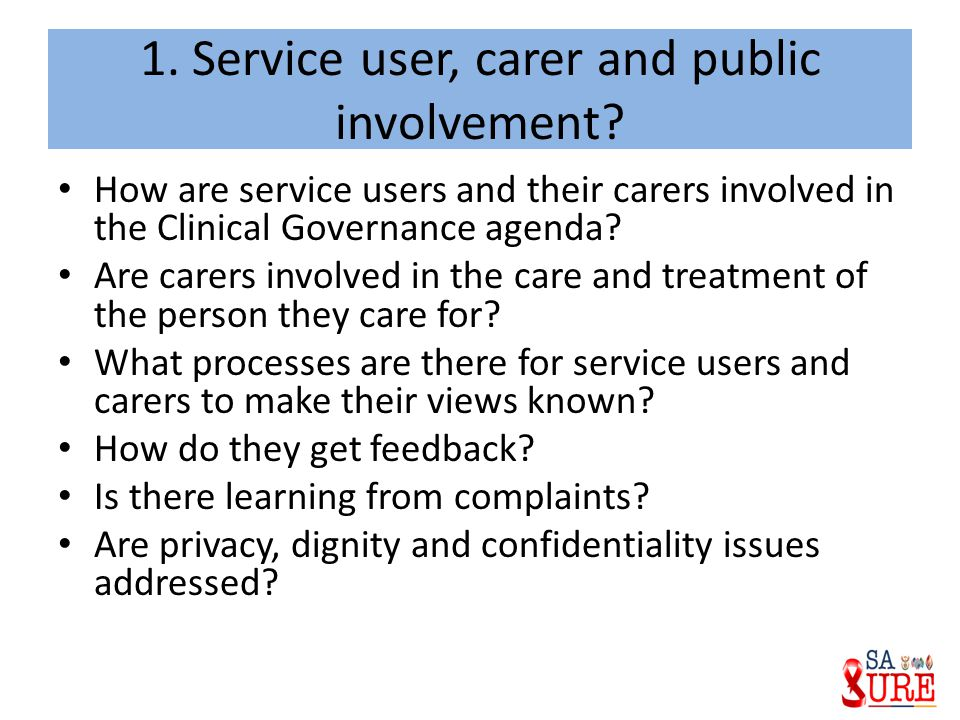 1. Service user, carer and public involvement